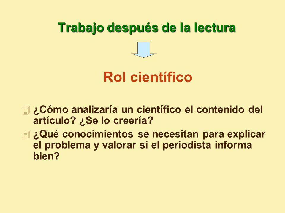 4 ¿Cómo analizaría un científico el contenido del artículo.
