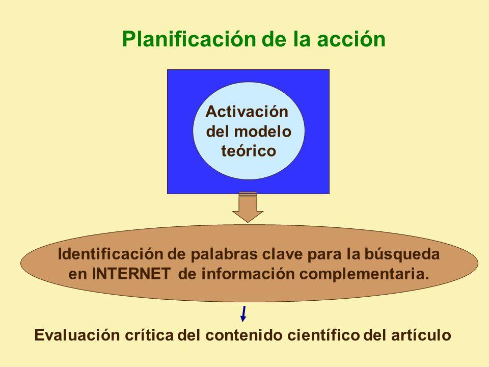 Evaluación crítica del contenido científico del artículo Identificación de palabras clave para la búsqueda en INTERNET de información complementaria.