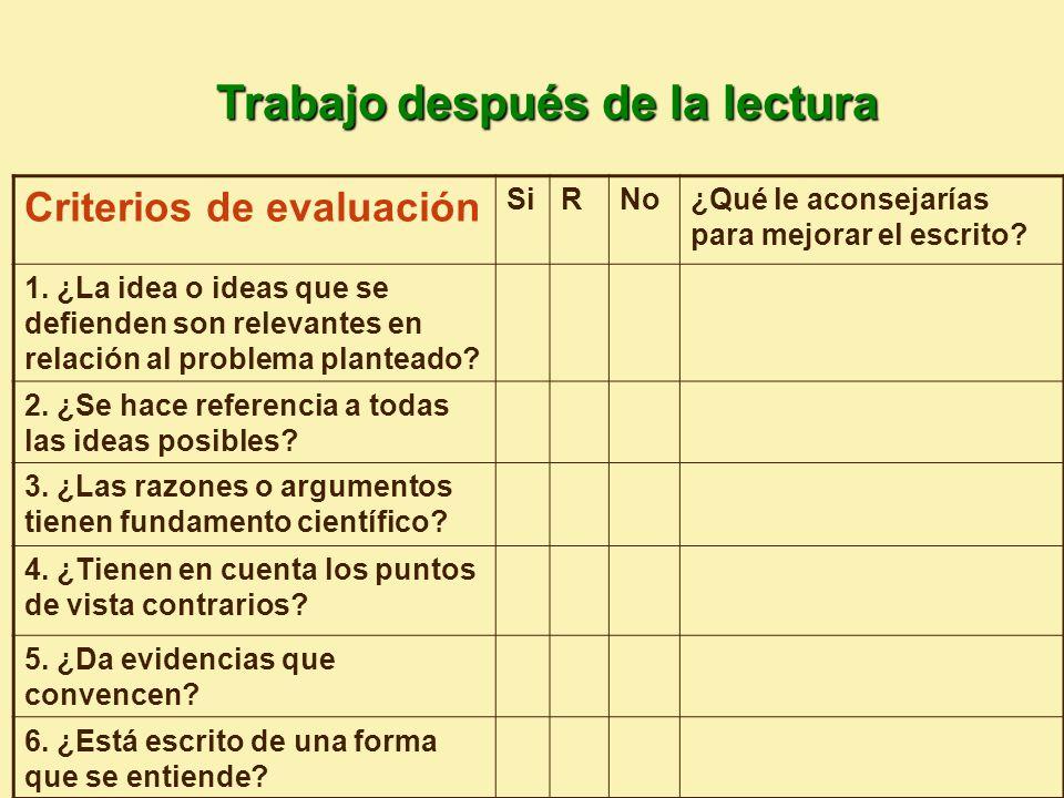 Criterios de evaluación SiRNo¿Qué le aconsejarías para mejorar el escrito.