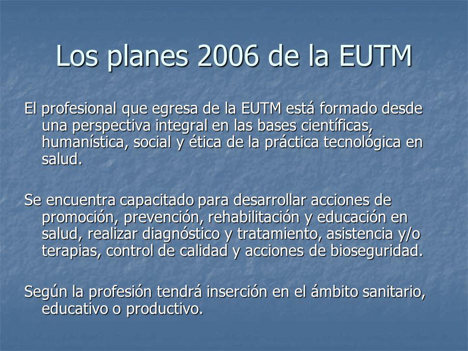 El profesional que egresa de la EUTM está formado desde una perspectiva integral en las bases científicas, humanística, social y ética de la práctica