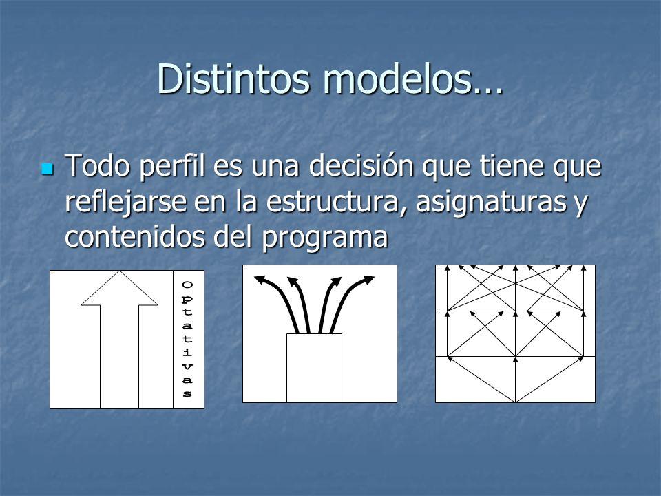 Distintos modelos… Todo perfil es una decisión que tiene que reflejarse en la estructura, asignaturas y contenidos del programa Todo perfil es una dec