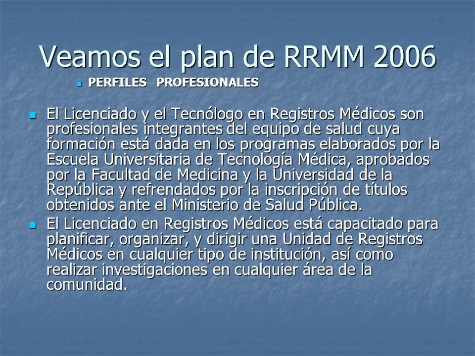 Veamos el plan de RRMM 2006 PERFILES PROFESIONALES PERFILES PROFESIONALES El Licenciado y el Tecnólogo en Registros Médicos son profesionales integran