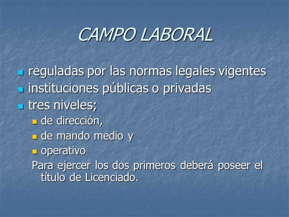 CAMPO LABORAL reguladas por las normas legales vigentes reguladas por las normas legales vigentes instituciones públicas o privadas instituciones públ