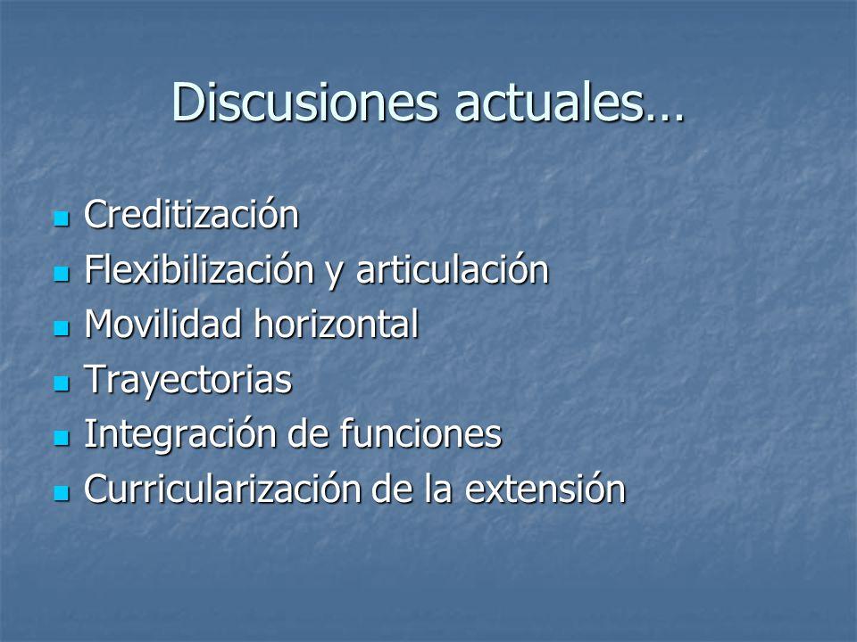 Discusiones actuales… Creditización Creditización Flexibilización y articulación Flexibilización y articulación Movilidad horizontal Movilidad horizon