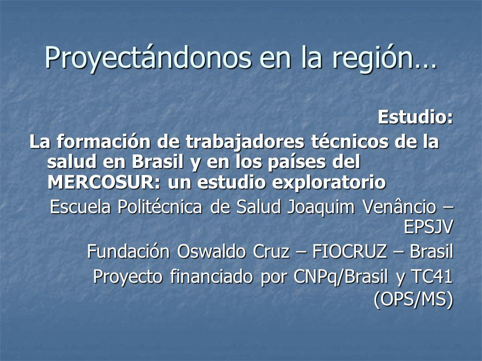Proyectándonos en la región… Estudio: La formación de trabajadores técnicos de la salud en Brasil y en los países del MERCOSUR: un estudio exploratori