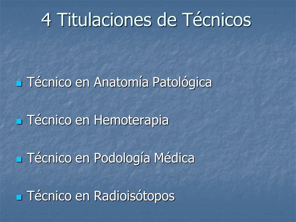 4 Titulaciones de Técnicos 4 Titulaciones de Técnicos Técnico en Anatomía Patológica Técnico en Anatomía Patológica Técnico en Hemoterapia Técnico en
