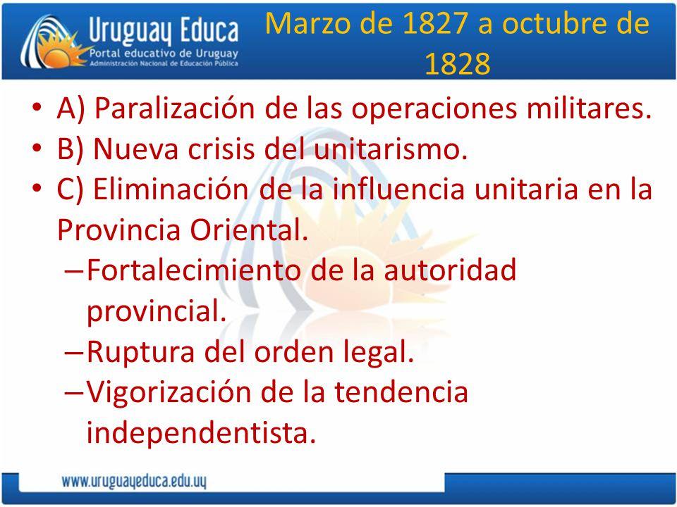 Marzo de 1827 a octubre de 1828 A) Paralización de las operaciones militares. B) Nueva crisis del unitarismo. C) Eliminación de la influencia unitaria