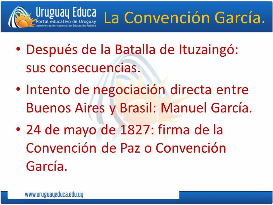 La Convención García. Después de la Batalla de Ituzaingó: sus consecuencias. Intento de negociación directa entre Buenos Aires y Brasil: Manuel García