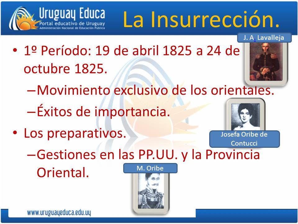 La Insurrección. 1º Período: 19 de abril 1825 a 24 de octubre 1825. – Movimiento exclusivo de los orientales. – Éxitos de importancia. Los preparativo