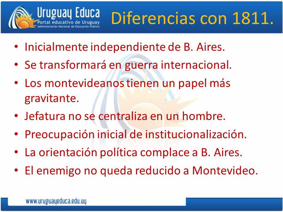 Diferencias con 1811. Inicialmente independiente de B. Aires. Se transformará en guerra internacional. Los montevideanos tienen un papel más gravitant