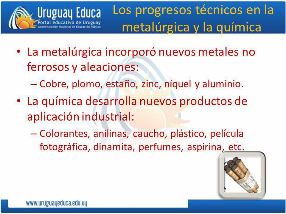 Los progresos técnicos en la metalúrgica y la química La metalúrgica incorporó nuevos metales no ferrosos y aleaciones: – Cobre, plomo, estaño, zinc, níquel y aluminio.