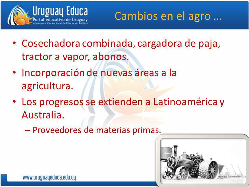 Cambios en el agro … Cosechadora combinada, cargadora de paja, tractor a vapor, abonos. Incorporación de nuevas áreas a la agricultura. Los progresos