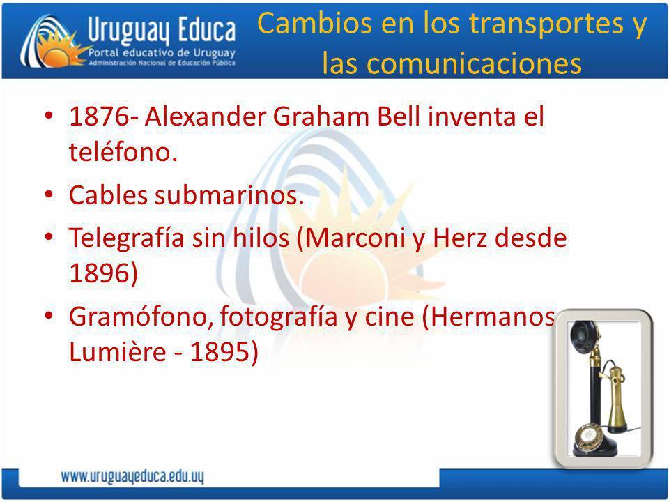 Cambios en los transportes y las comunicaciones 1876- Alexander Graham Bell inventa el teléfono. Cables submarinos. Telegrafía sin hilos (Marconi y He