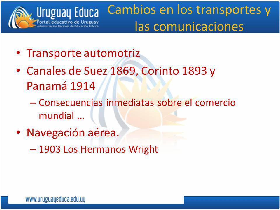 Cambios en los transportes y las comunicaciones Transporte automotriz Canales de Suez 1869, Corinto 1893 y Panamá 1914 – Consecuencias inmediatas sobre el comercio mundial … Navegación aérea.