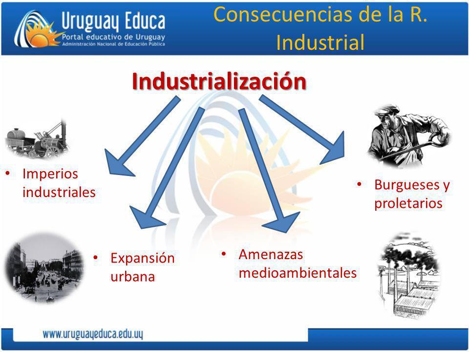Consecuencias de la R. IndustrialIndustrialización Imperios industriales Expansión urbana Amenazas medioambientales Burgueses y proletarios