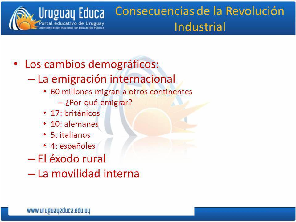 Consecuencias de la Revolución Industrial Los cambios demográficos: – La emigración internacional 60 millones migran a otros continentes – ¿Por qué em