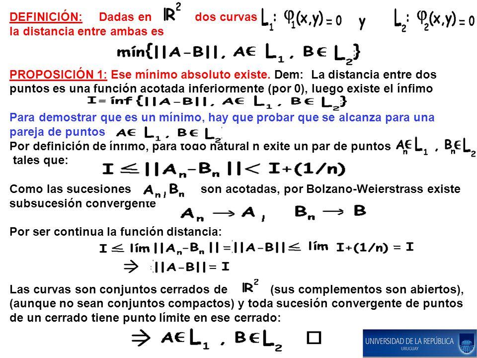 DEFINICIÓN: Dadas en dos curvas la distancia entre ambas es PROPOSICIÓN 1: Ese mínimo absoluto existe. Dem: La distancia entre dos puntos es una funci