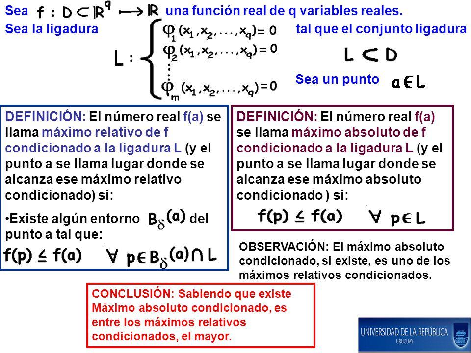 Sea una función real de q variables reales. Sea la ligadura tal que el conjunto ligadura Sea un punto DEFINICIÓN: El número real f(a) se llama máximo