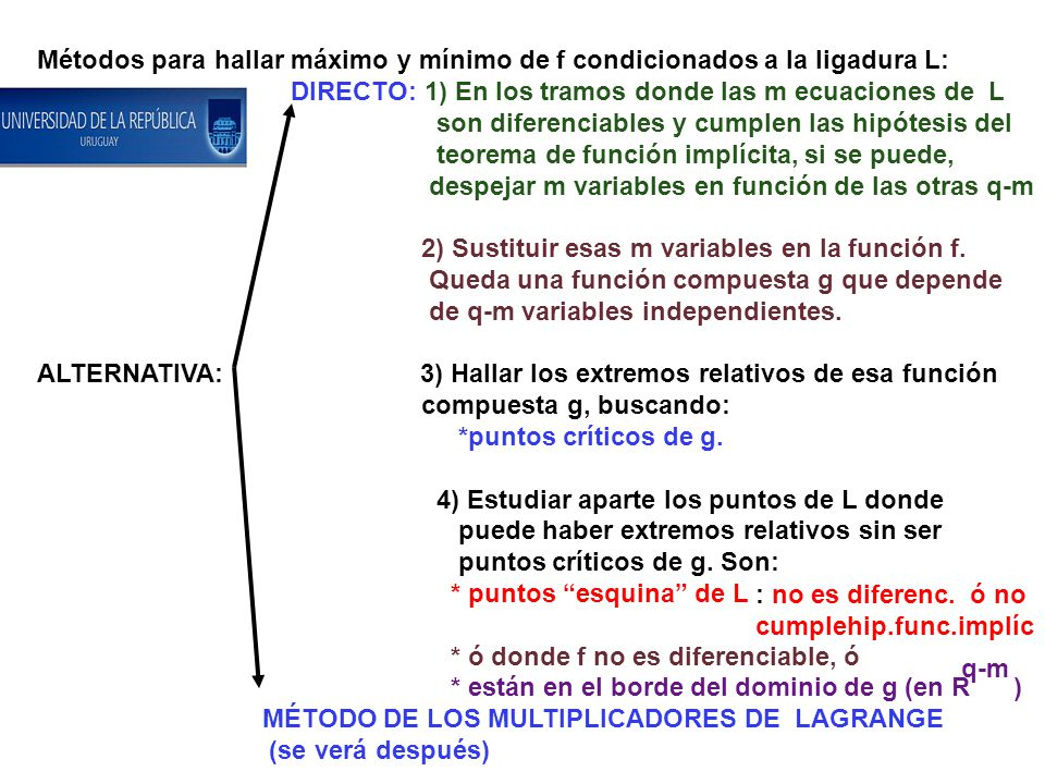 Métodos para hallar máximo y mínimo de f condicionados a la ligadura L: DIRECTO: 1) En los tramos donde las m ecuaciones de L son diferenciables y cumplen las hipótesis del teorema de función implícita, si se puede, despejar m variables en función de las otras q-m 2) Sustituir esas m variables en la función f.