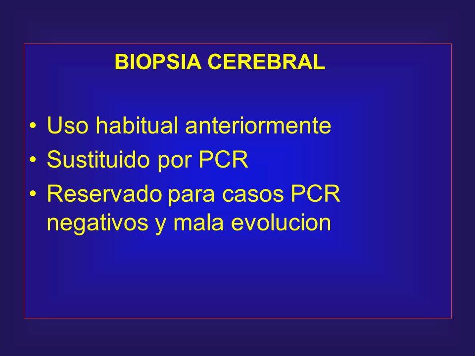 BIOPSIA CEREBRAL Uso habitual anteriormente Sustituido por PCR Reservado para casos PCR negativos y mala evolucion