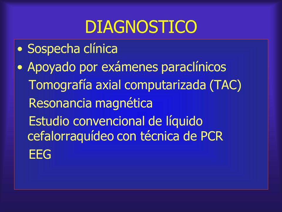 DIAGNOSTICO Sospecha clínica Apoyado por exámenes paraclínicos Tomografía axial computarizada (TAC) Resonancia magnética Estudio convencional de líqui