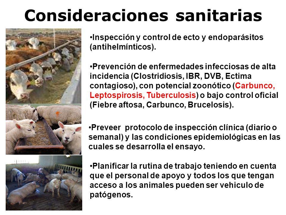 Consideraciones sanitarias Inspección y control de ecto y endoparásitos (antihelmínticos).