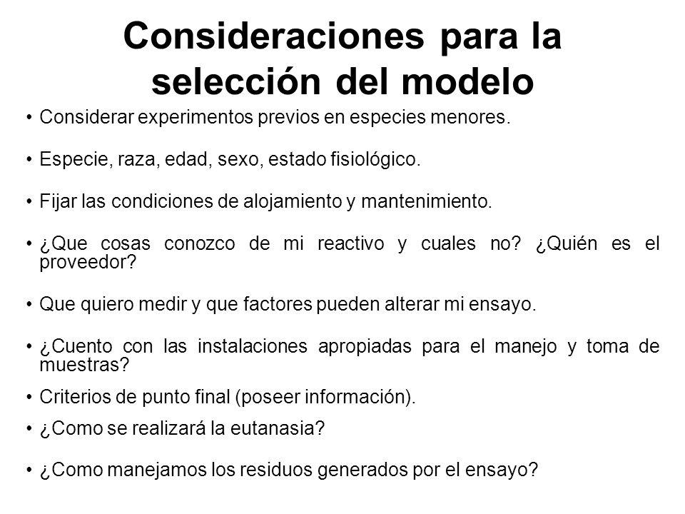 Consideraciones para la selección del modelo Considerar experimentos previos en especies menores.