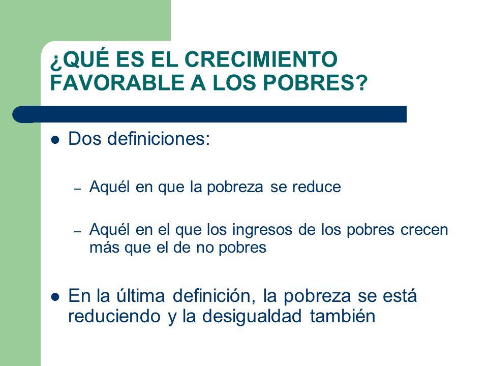 ¿QUÉ ES EL CRECIMIENTO FAVORABLE A LOS POBRES? Dos definiciones: – Aquél en que la pobreza se reduce – Aquél en el que los ingresos de los pobres crec