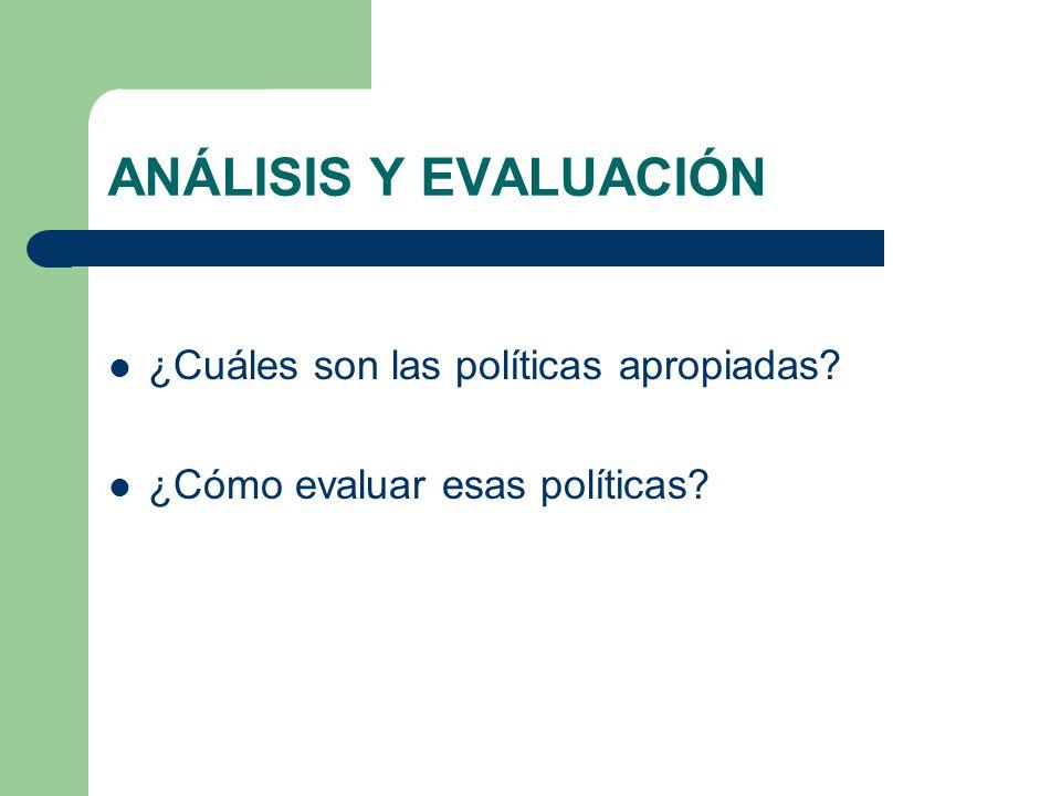 ANÁLISIS Y EVALUACIÓN ¿Cuáles son las políticas apropiadas? ¿Cómo evaluar esas políticas?