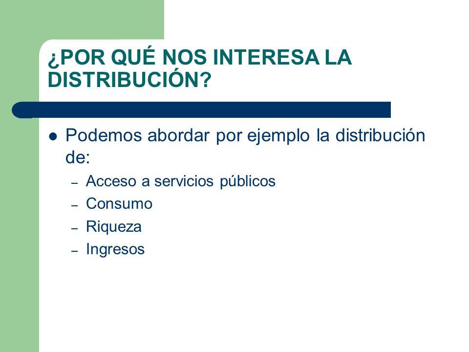 ¿POR QUÉ NOS INTERESA LA DISTRIBUCIÓN? Podemos abordar por ejemplo la distribución de: – Acceso a servicios públicos – Consumo – Riqueza – Ingresos
