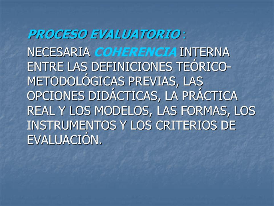 PROCESO EVALUATORIO : NECESARIA INTERNA ENTRE LAS DEFINICIONES TEÓRICO- METODOLÓGICAS PREVIAS, LAS OPCIONES DIDÁCTICAS, LA PRÁCTICA REAL Y LOS MODELOS
