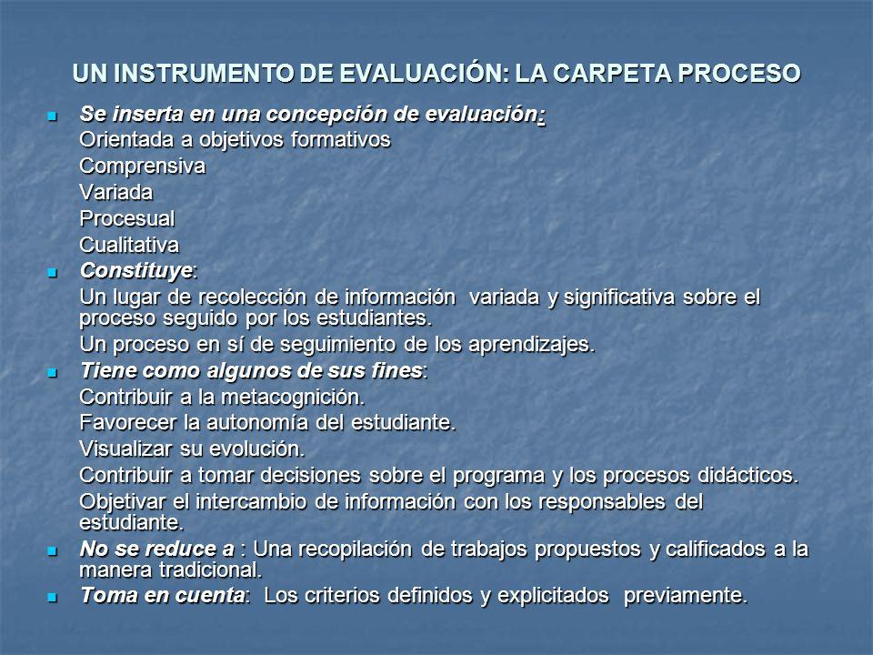 UN INSTRUMENTO DE EVALUACIÓN: LA CARPETA PROCESO Se inserta en una concepción de evaluación: Se inserta en una concepción de evaluación: Orientada a o
