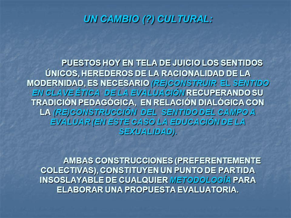 UN CAMBIO (?) CULTURAL: PUESTOS HOY EN TELA DE JUICIO LOS SENTIDOS ÚNICOS, HEREDEROS DE LA RACIONALIDAD DE LA MODERNIDAD, ES NECESARIO (RE)CONSTRUIR E