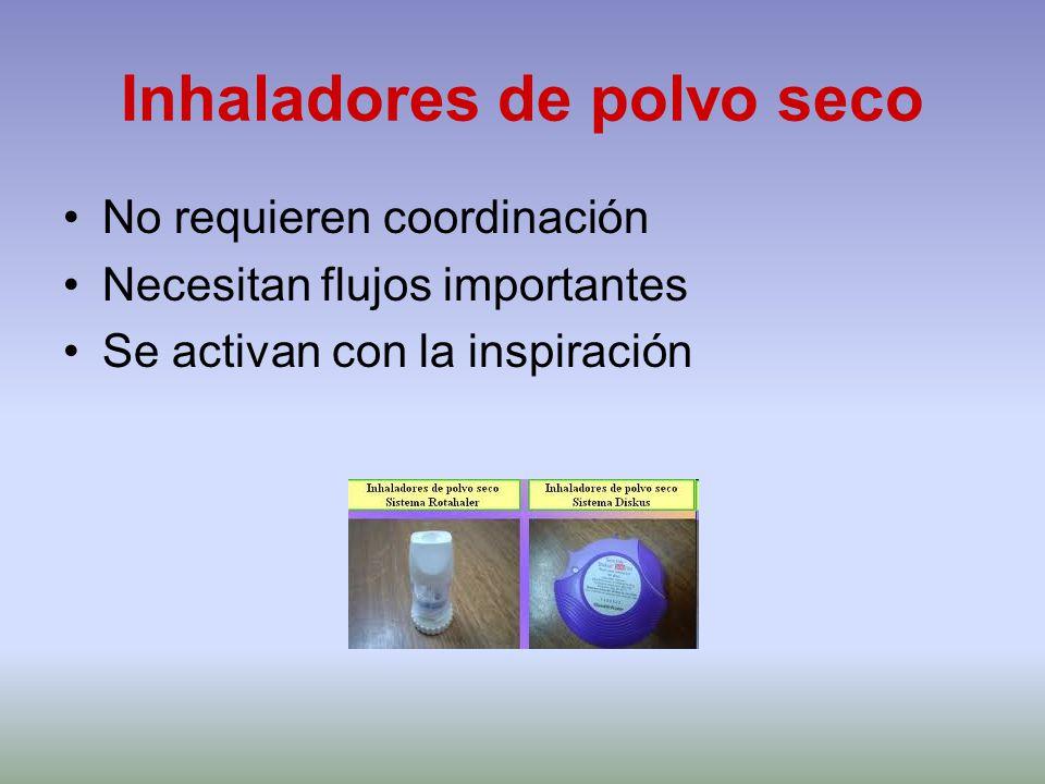 Inhaladores de polvo seco No requieren coordinación Necesitan flujos importantes Se activan con la inspiración
