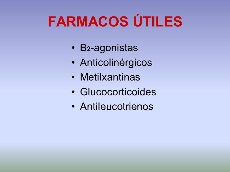 FARMACOS ÚTILES Β 2 -agonistas Anticolinérgicos Metilxantinas Glucocorticoides Antileucotrienos
