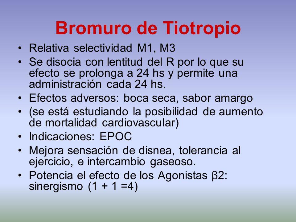 Bromuro de Tiotropio Relativa selectividad M1, M3 Se disocia con lentitud del R por lo que su efecto se prolonga a 24 hs y permite una administración