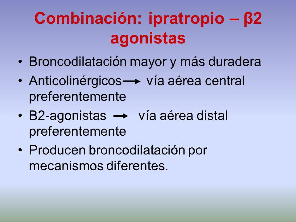 Combinación: ipratropio – β2 agonistas Broncodilatación mayor y más duradera Anticolinérgicos vía aérea central preferentemente Β2-agonistas vía aérea