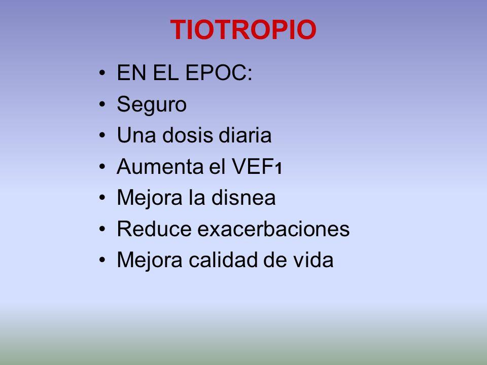 TIOTROPIO EN EL EPOC: Seguro Una dosis diaria Aumenta el VEF 1 Mejora la disnea Reduce exacerbaciones Mejora calidad de vida