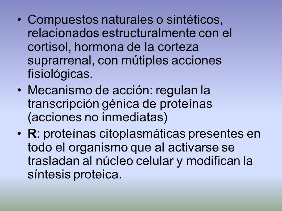 Compuestos naturales o sintéticos, relacionados estructuralmente con el cortisol, hormona de la corteza suprarrenal, con mútiples acciones fisiológica