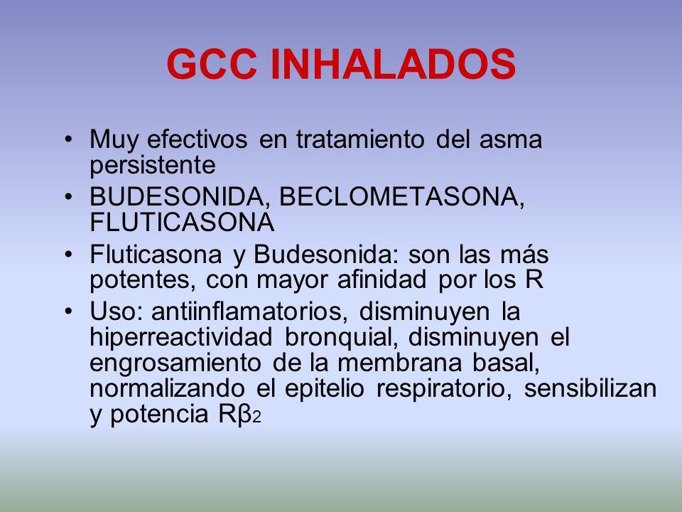 GCC INHALADOS Muy efectivos en tratamiento del asma persistente BUDESONIDA, BECLOMETASONA, FLUTICASONA Fluticasona y Budesonida: son las más potentes,