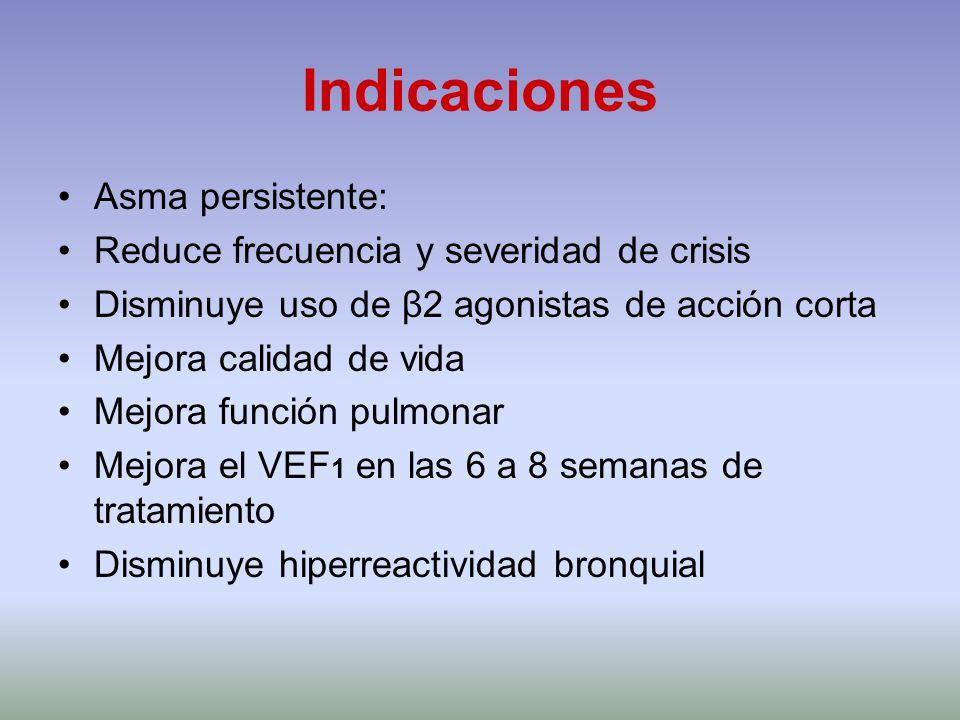 Indicaciones Asma persistente: Reduce frecuencia y severidad de crisis Disminuye uso de β2 agonistas de acción corta Mejora calidad de vida Mejora fun