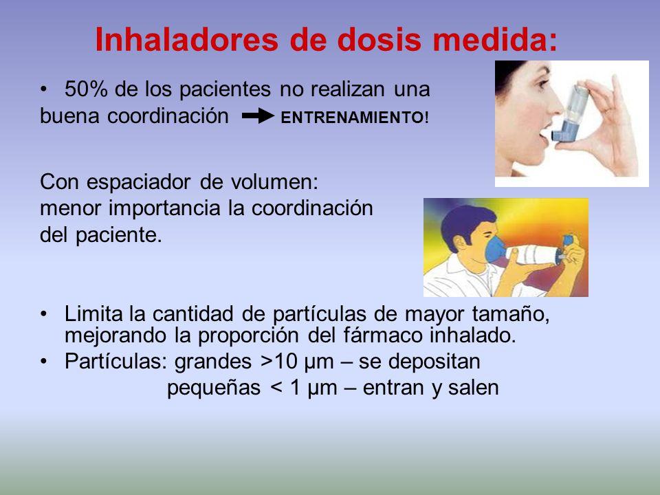 Inhaladores de dosis medida: 50% de los pacientes no realizan una buena coordinación ENTRENAMIENTO! Con espaciador de volumen: menor importancia la co