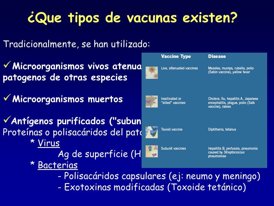 ¿Que tipos de vacunas existen? Tradicionalmente, se han utilizado: Microorganismos vivos atenuados empíricamente, patogenos de otras especies Microorg