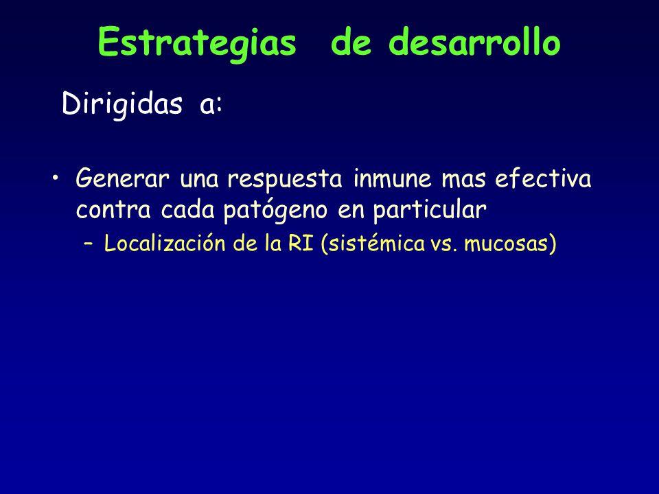 Estrategias de desarrollo Dirigidas a: Generar una respuesta inmune mas efectiva contra cada patógeno en particular –Localización de la RI (sistémica