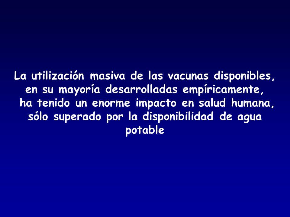 La utilización masiva de las vacunas disponibles, en su mayoría desarrolladas empíricamente, ha tenido un enorme impacto en salud humana, sólo superad