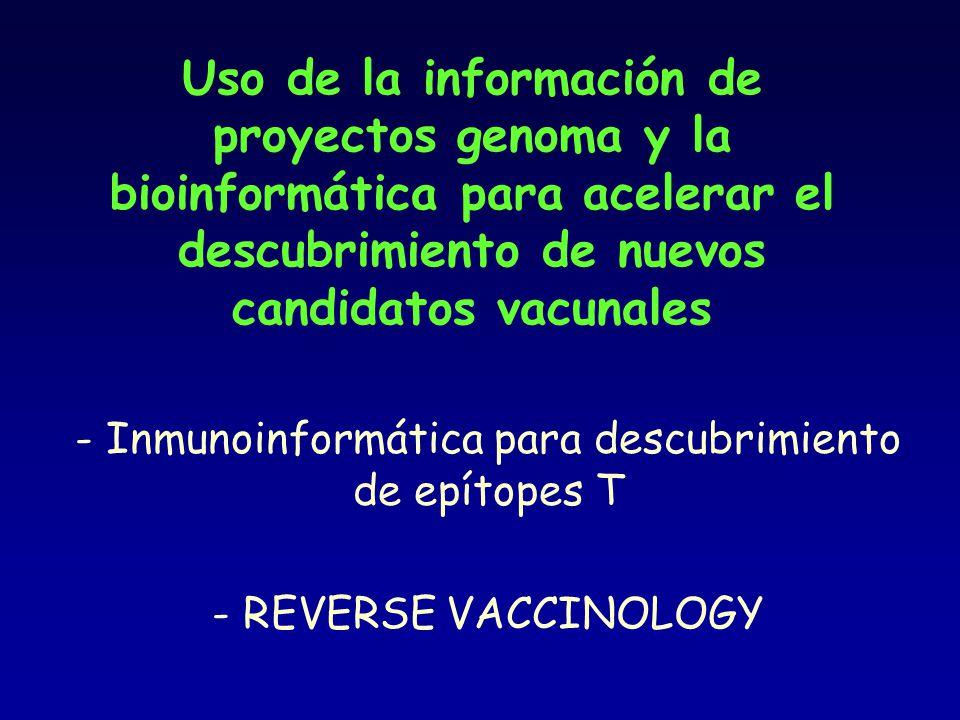 Uso de la información de proyectos genoma y la bioinformática para acelerar el descubrimiento de nuevos candidatos vacunales - Inmunoinformática para