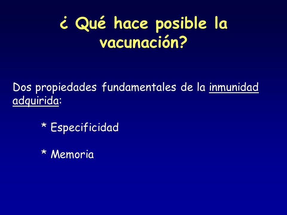 ¿ Qué hace posible la vacunación? Dos propiedades fundamentales de la inmunidad adquirida: * Especificidad * Memoria