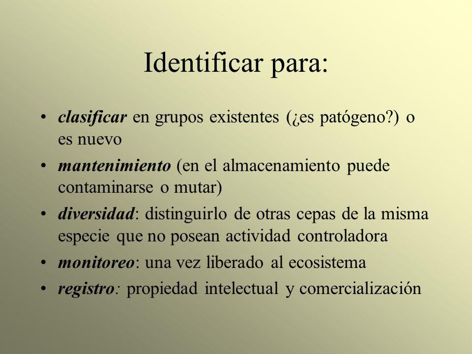 Identificar para: clasificar en grupos existentes (¿es patógeno?) o es nuevo mantenimiento (en el almacenamiento puede contaminarse o mutar) diversida