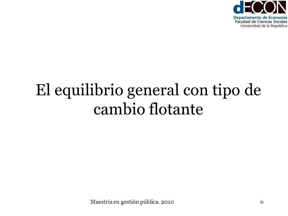 Maestría en gestión pública. 20100 El equilibrio general con tipo de cambio flotante