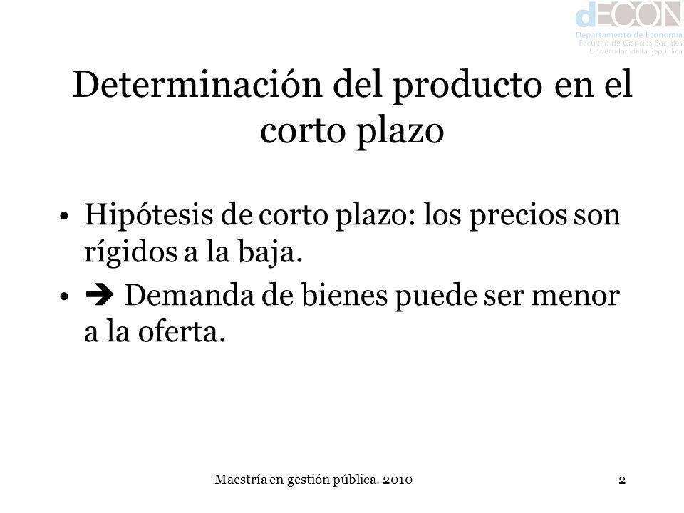 Maestría en gestión pública. 20102 Determinación del producto en el corto plazo Hipótesis de corto plazo: los precios son rígidos a la baja. Demanda d
